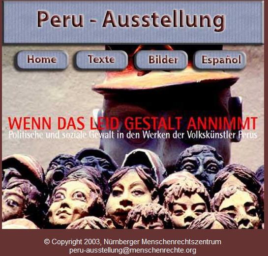 Screenshot der Webseite zur Peru Ausstellung